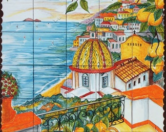 Coast of Positano Italy Wall Decor Tiles, Set of 30 Fire Glazed Tiles for Backsplash, Hand Painted Art Tile, Indoor Outdoor Mural,