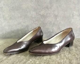 Vintage Brown Leather Flat / 90s Heel / Vintage Pointed Toe Flat / Women's 7.5, EU 37.5