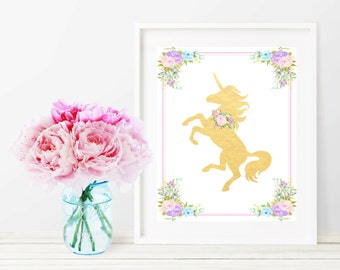 Unicorn Wall Art, Unicorn Print, Unicorn Nursery, Printable Wall Decor, Unicorn Wall Art Print, Printable Girl Nursery