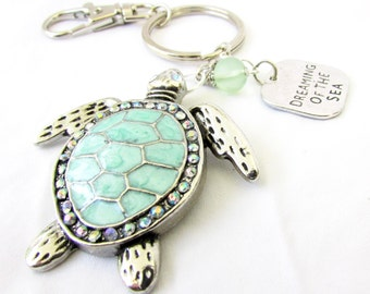Sea Turtle Keychain, Turtle Keyring, Beach Keychain, Car Accessories, Beach Keyring, Dreaming of the Sea, Nautical Keychain, KY56