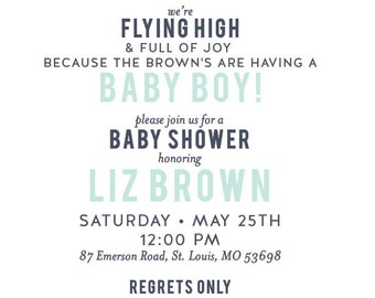 Paper Airplane Baby Shower Invitation Only
