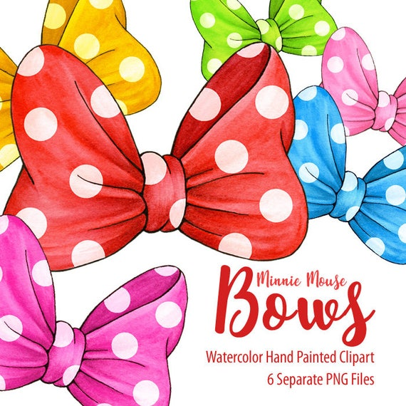 Watercolor Minnie Mouse Bows Clipart Collection. Hand Painted