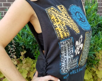 Black Shredded New Orleans Shirt / Pool Cover-up - Exclusive!