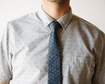 Chambray skinny tie, swiss dot tie, chambray necktie, denim necktie, nvy blue tie, denim bow tie, freestyle bow tie, self tie, chambray
