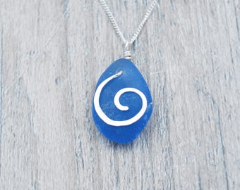 Blue Maine Sea Glass Necklace with Silver Spiral