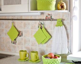 Housewarming Set Kitchen Set Knit Kitchen Hand Towel with Buttoned Strap Hanging towels Towel Kitchen storage Stand under a hot Baskets