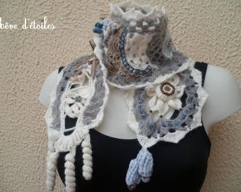 Hand blown up beige gray crochet scarf