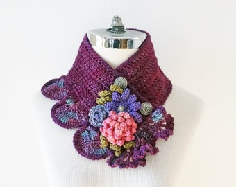 Floral Scarf, Peony, Rose, Daisy Scarf in Purple, Pink, Green, SPECIAL EDITION, Art Nouveau style scarf with floral accents, woman's scarf,