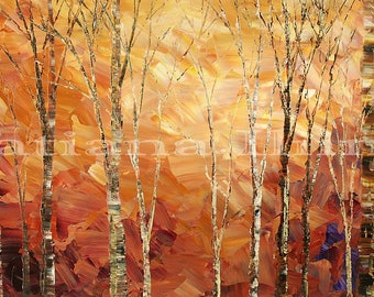 Landscape painting canvas original amber stretched birch trees aspen impressionist forest autumn TINTERN WOODS Tatiana Iliina Free shipping