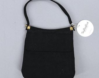 Vintage 1950s Purse / 50s Black Handbag / Linen Silk / Day Bag