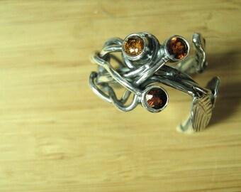 Triple Garnet and Cherry Leaf Adjustable Ring
