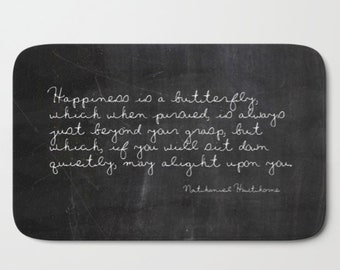 Butterfly Inspirational Quote, Bath Mat Set, Shabby Chic Bathroom Rug, Black and White Bath Rug, Rustic Home Decor, Housewarming Gifts