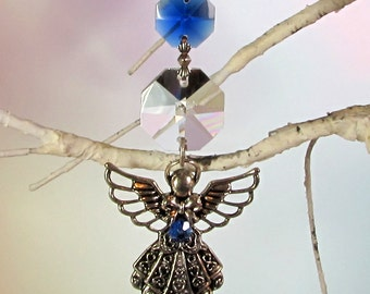 Sappphire Angel Crystal Sun Catcher, Christmas Ornament, 1S-29