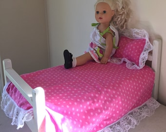"""Doll bed for 18"""" doll, made of wood, painted white, includes foam mattress & bedding"""