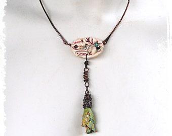 Rustic Short Boho Necklace Flower Pendant, Rustic Bohemian Necklace, Assemblage Jewelry, OOAK Art to wear, Flower Pendant Necklace