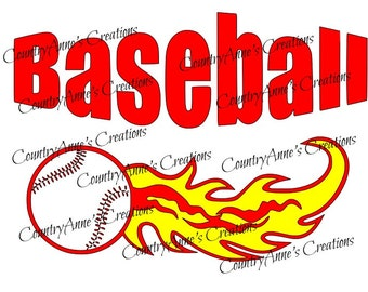 "SVG PNG DXF Eps Ai Wpc Cut file for Silhouette, Cricut, Pazzles, ScanNCut  -""Baseball""  svg"