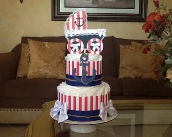 Nautical Diaper Cake/ Boy diaper cake/ Anchor diaper cake/ Nautical baby shower Centerpiece/ diaper cake