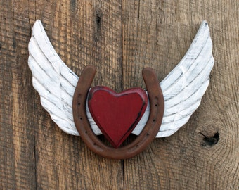 Horse sign, Horseshoe with Angel Wings and Heart, Hoof Beats in Heaven, Horses lend us the wings we lack.