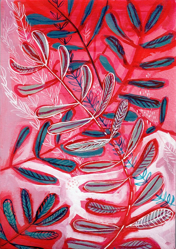 Pink and Red Botanical Study No.2 Archival Wall Art Print