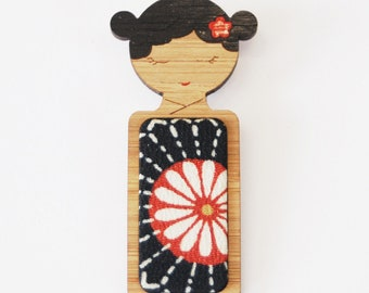 Midnight Flower // Kokeshi Brooch // Vintage Kimono Fabric Inlay