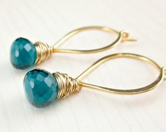 Gold Teal Earrings, Teal Hoop Earrings, Gold Lotus Petal Hoop, Wire Wrapped Teal Drop Earrings, Gold Jewelry, Minimalist Dangle, Gold Filled