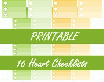 August Ombre Heart Checklists | Erin Condren Vertical Life Planner | Printable Planner Stickers