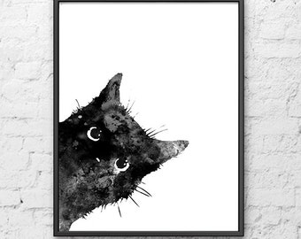 Watercolor painting, Black cat art print,  cat print, cat painting, kitten poster, cat lovers, cat poster, cat art - B5
