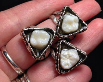 RESTOCK SALE 10 OFF - Deep Triangle Resin Set Real Human Molar Adjustable Ring