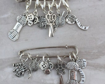 Silver Knitting Sewing Charm Stitch Markers, stitch markers, knitting supplies, progress markers, progress keepers, crochet markers