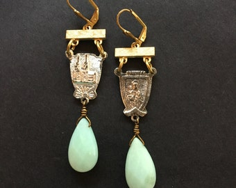Amazonite dream: vintage assemblage dangle earrings, boho style, vintage style, repurposed earrings