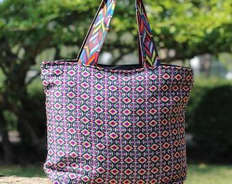 Unique Woven Colorful Women's Tote Bag   Summer Beach bag   Everyday Tote bag   Bohemian bag   Woven Shoulder bag  Boho Bag  Vegan Bag