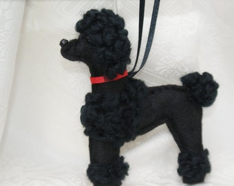 felt poodle ornament, black poodle ornament, handmade felt ornament