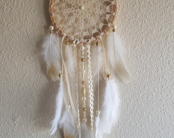 with beige doily dream catcher