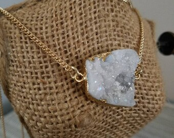 Gold multi layered three tiered necklace with white natural druzy crystal charm
