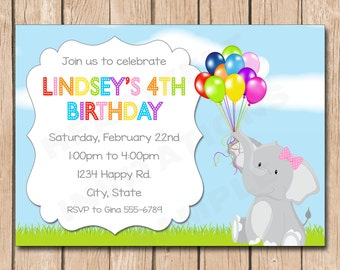 Elephant and Balloons Birthday Invitation - 1.00 each printed