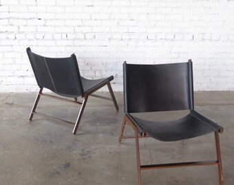 Black Leather Slung Chair with Antiqued Brown Patina Finish Legs