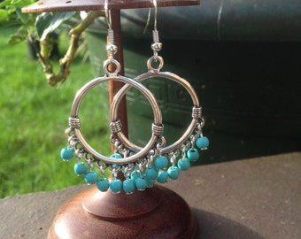 Bali earrings, Turquoise earrings, Turquoise Jewellery, Ethnic, Tribal, Hippie, Gypsy