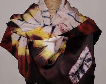 Oversized silk tye-dye scarf neck wrap