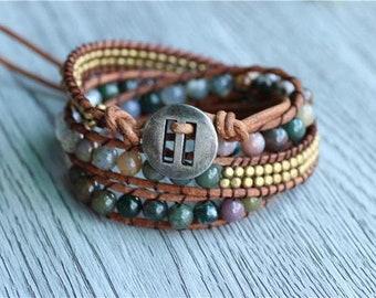 """Light energy"" Wrap bracelet Indian agate"