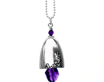 Vintage knife bell pendant with amethyst tone Swarovski crystals on sterling silver ball chain