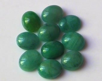 11X9 MM Oval Shape Natural Brazilian Green Emerald Cabochon Cut Calibrated Gemstone 10 Pieces Wholesale Lot 9X11 MM Oval Cabs Stone