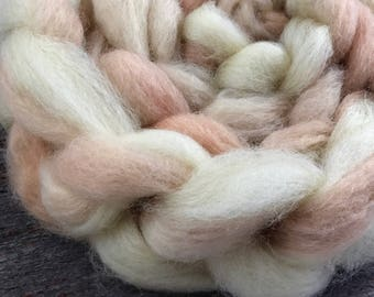 Avocado, coreopsis, and natural on Blue Faced Leicester Roving