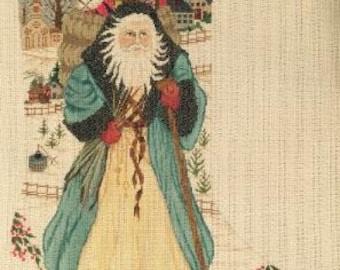 Personalized Woodland Santa Needlepoint Stocking Canvas