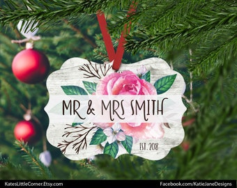 Mr & Mrs Ornament, Our First Christmas Ornament, Married Ornament, Custom Ornament, Wedding Gift, Benelux Ornament, Gift for Couple