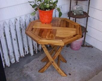 Hand Made hexagon Octagon Golden Oak Stain wood wooden Folding Side Table Indoor/Outdoor Patio Yard