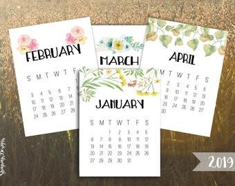 2019 Calendar Printable 3x4 Desk Calendar // Pocket Scrapbooking // Watercolor Calendars For Crafting // Instant Download Planner Printables