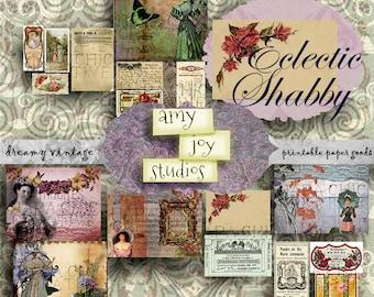 Eclectic Shabby  Vintage Digital Junk Journal  Ephemera Vintage  Printable Journal Paper  Junk Journal Kit  Ephemera Pack  Victorian  Shabby