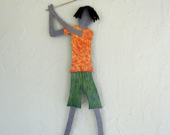 "Metal wall art guy golfer recycled metal wall golf art sports wall decor green yellow orange  21"" x 8"""