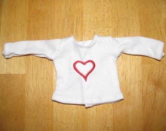 Red heart embroidered shirt for Corolle Les Cheries or Hearts for Hearts Girls