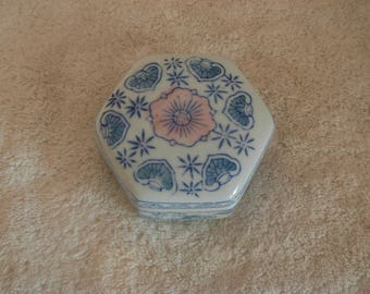 Blue, White And Pink Trinket Box Eight Sides Porcelain 1980's